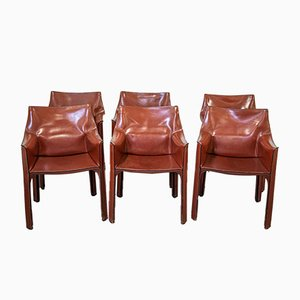 Model Cab Chairs by Mario Bellini for Cassina, 1970s, Set of 6