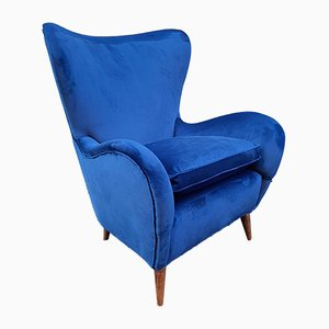 Lounge Chair with Tapered Wooden Legs & Blue Velvet by Ico Luisa Parisi, 1950s