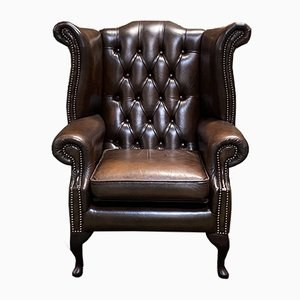 Vintage Leather Chesterfield Armchair with Ears