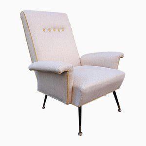Beige Lounge Chair with Iron & Brass Legs, 1950s