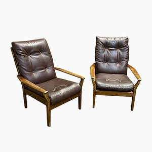 Teak and Leather Look Armchairs, 1970s, Set of 2