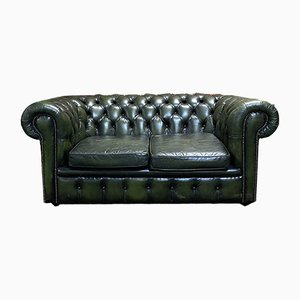 Green Leather Chesterfield Sofa, 1980s