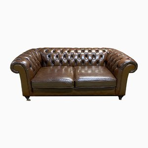 Cognac Leather Chesterfield Sofa, 1980s