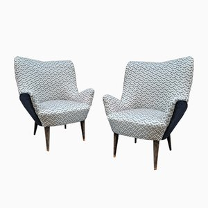 Lounge Chairs with Optical & Black Velvet, 1950s, Set of 2
