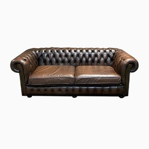 Brown Leather Chesterfield Sofa, 1980s