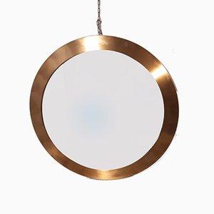 Round Aluminum & Brass Mirror by Gaetano Sciolari for Valenti Luce, 1970s