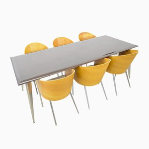 M Series Dining Table & King Costes Chair Set by Philippe Starck for Aleph, 1980s, Set of 7