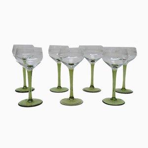 Antique Art Nouveau Wine Glasses, Set of 7