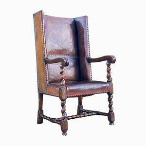 George IV Leather & Oak Wingback Armchair, 1820s