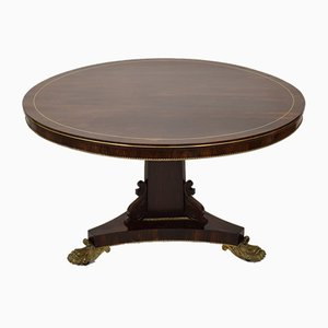 19th Century Brass Inlaid Rosewood Tilt Top Centre Table in the style of Gillows