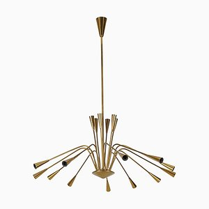 Brass Chandelier by Oscar Torlasco, 1950s