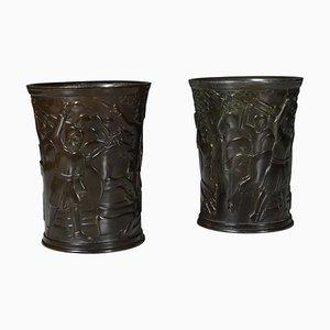 Disko Metall Vasen von Just Andersen, 2er Set