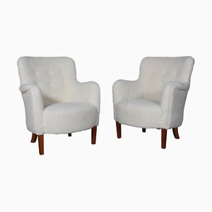 Danish Lounge Chairs Lambwool, 1940s, Set of 2