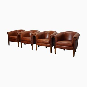 Vintage Dutch Cognac Leather Club Chairs, Set of 4