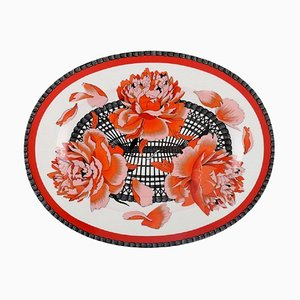Large Hermes Porcelain Serving Dish Decorated with Red Flowers, 1980s