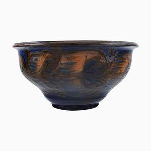 Bowl in Glazed Stoneware Orange Foliage on Blue Background from Kähler, Denmark