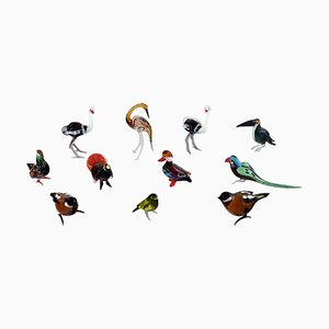 Swedish Art Glass, Miniature Figures in the Form of Birds, 1970s, Set of 11