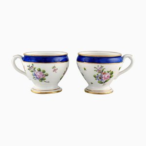 Antique Cream Cups in Hand-Painted Porcelain from Sevres, France, 19th Century, Set of 2