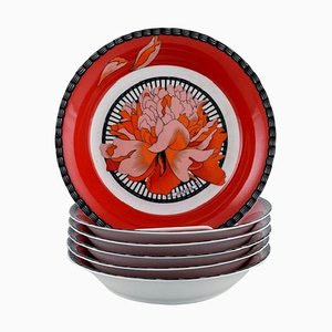 Porcelain Bowls with Red Flowers from Hermes, 1980s, Set of 6