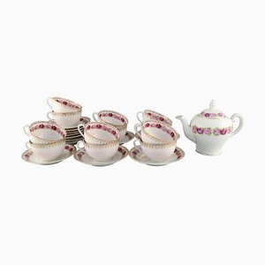 Tea Service Set in Hand-Painted Porcelain with Flowers from KPM Berlin