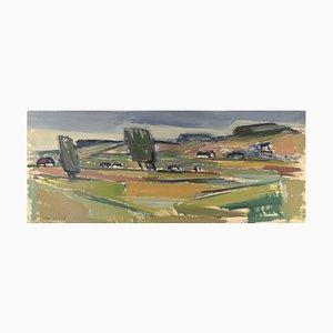 Uno Svärd, Suède, huile sur toile, paysage moderniste, 1960-1970