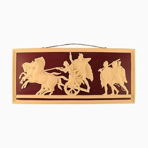 Plaster Wall Plaque with Chariot & Four Horses Motif from Thorvaldsen