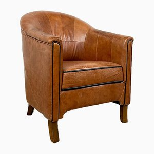 Sheep Leather Cognac Club Chair, 1980s