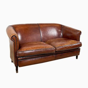 Sheep Leather Club Sofa, 1980s
