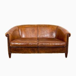 Sheep Leather Cognac Club Sofa, 1980s