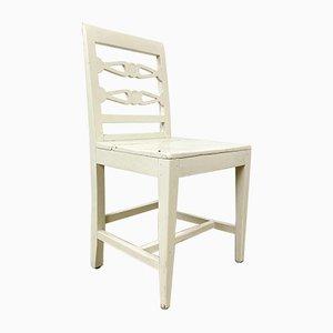 Chaise de ferme blanche suédoise antique