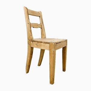 Chaise de ferme suédoise antique en orme