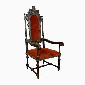 Antique French Carved Oak Armchair, 19th Century