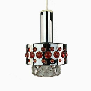 Space Age Chrome Glass Ceiling Lamp, 1960s