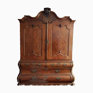 Serpentine Solid Walnut Baroque Cabinet