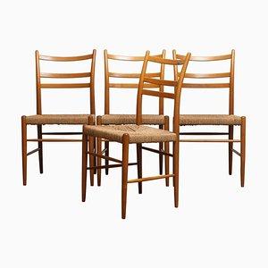 Slim Beech Wicker Model Gracell Dining Chairs by Yngve Ekström for Gemla, 1960s, Set of 4