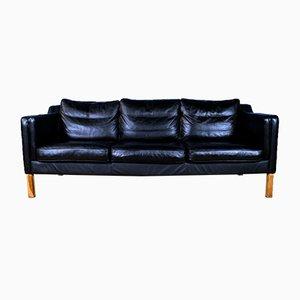 Mid-Century Danish Black Leather 3-Seat Sofa in the Style of Mogensen