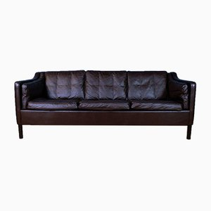 Mid-Century Danish Brown Leather 3-Seat Sofa in the Style of Mogensen, 1970s