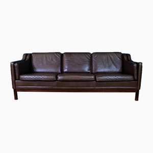 Danish Brown Leather Sofa from Mogens Hansen, 1970s