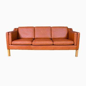 Mid-Century Danish Tan Leather Sofa