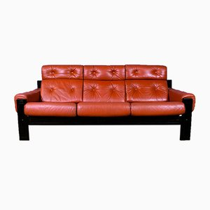 Swedish Red Leather and Beech High Back Sofa, 1970s