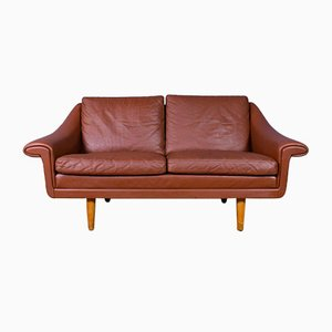 Danish Tan Brown Leather Matador Sofa by Aage Christiansen, 1960s