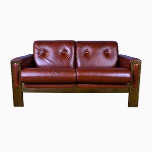 Mid-Century Swedish Red Leather & Beech 2-Seat Sofa, 1970s