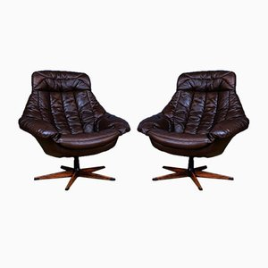 Mid-Century Danish Brown Leather Silhouette Swivel Chair by H.W. Klein for Bramin