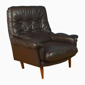 Danish Buttoned Brown Leather Armchair, 1970s