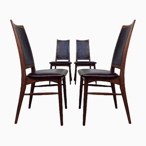 Mid-Century Danish Rosewood Leather Dining Chairs by Niels Koefoed for Koefoeds Hornslet, Set of 4