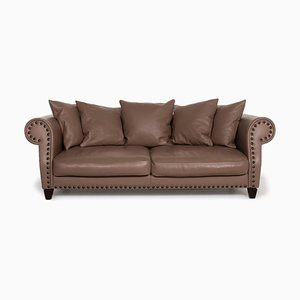 Chester Chic Leather Sofa in Brown from Roche Bobois