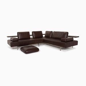 Dono Leather Corner Sofa in Dark Brown from Rolf Benz