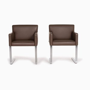 Quant Leather Armchairs in Brown from Cor, Set of 2