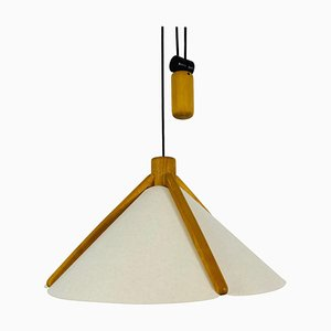 Mid-Century Wooden Adjustable Pendant Lamp with Counterweight by Domus, 1960s