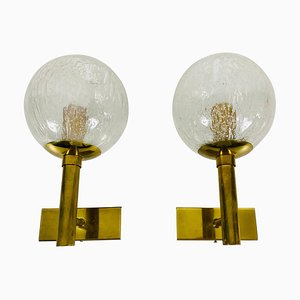 Brass and Glass Wall Lamps from Hillebrand, Germany, 1960s, Set of 2